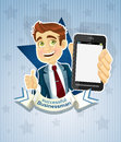 Cute successful businessman with phone- star poste Stock Image