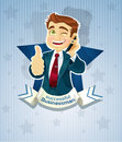 Cute successful businessman- star poster Stock Image