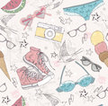 Cute summer abstract pattern seamless pattern wit with swimsuits sunglasses sun glasses sneakers and ice creams fun for Stock Image