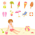 Cute summer and beach theme illustrations Stock Image