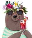 Cute summer bear
