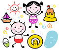 Cute summer doodle kids set cartoon design elements vector illustration Stock Photos