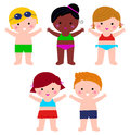 Cute summer kids in swimsuit set little colorful vector cartoon illustration Stock Photos