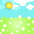 Cute summer meadow vector hand drawn style illustration of a with sun and daisies Royalty Free Stock Photos
