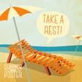Cute summer poster sun bathe on the chaise longue with umbrella shore with speech bubble for your text vector Royalty Free Stock Photos