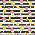 Cute summer striped seamless vector pattern background illustration with ice cream, strawberry, lemon, cherry and banana
