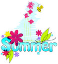 Cute summer text illustration with bee Royalty Free Stock Photos