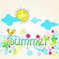 Cute summer text illustration with bird Stock Images
