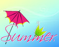 Cute summer text vector hand drawn style with leaves and umbrella Royalty Free Stock Photography