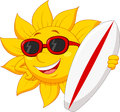 Cute sun cartoon character with surfing boad illustration of Stock Image