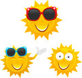 Cute sun cartoons set vector illustration of separate layers for easy editing Royalty Free Stock Photo