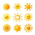 Cute sun. Hand drawn sunshine. Summer morning sunrise. Doodle vector warming joy icons