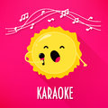 Cute sun with microphone sings karaoke songs. Flat style. Vector illustration Royalty Free Stock Photo