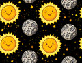 Cute sun and moon character seamless pattern