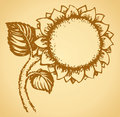 Cute sunflower vector drawing natural frame in the form of a large fragrant with lush petals monochrome freehand ink drawn Royalty Free Stock Photography