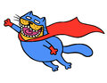 Cute super cat in a raincoat is flying to save the world. Isolated vector illustration.