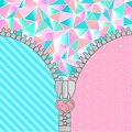 Cute surprise background with open zipper and crystals. Birthday congratulation or invitation fashion girls party Royalty Free Stock Photo