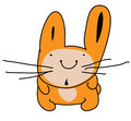 Cute surprised hare rabbit, funny cartoon picture. Color illustration isolated on white background.