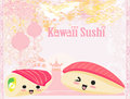 Cute sushi cartoon illustration Stock Image