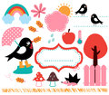 Cute swallow and autumn rainy weather cartoon set vector Royalty Free Stock Photos