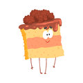 Cute sweet cake character with chocolate cream topping, cartoon funny dessert vector