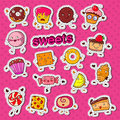 Cute Sweet Food Candy Characters Doodle with Cookie, Cupcake and Lollipop for Prints, Stickers and Badges