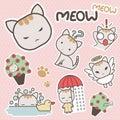 Cute And Sweet Meow Cat Cartoon Sticker Art - Vector