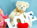 Cute teddy bear concept valentine day on blue polka dot background and artificial rose flower Stock Photos