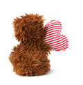 Cute teddy bear heart with sitting on white background Royalty Free Stock Photography