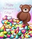 Cute teddy bear with hearts