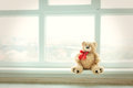 Cute teddy bear at home in white room is sitting near window. Alone bear waiting for a baby boy or girl.
