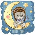 Cute Teddy Bear in a pilot hat is sitting on the moon