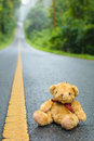 Cute teddy bear on the road Stock Photo