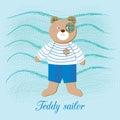 Cute Teddy bear - sailor boy, on the backdrop of the sea waves