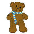 Cute teddy bear with scarf Stock Photos