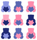 Cute teddy bear set retro abstract collection vector illustration Stock Photos