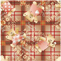 Cute teddy bear wallpaper vector seamless pattern with tartan background Royalty Free Stock Photos