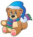 Cute teddy bear in winter clothes Royalty Free Stock Photography