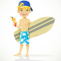Cute teen boy with a drink in a glass and a surfbo surfboard isolated on white background Stock Images