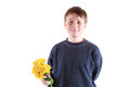 Cute teen with flowers on a white background Royalty Free Stock Photo