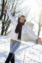 Cute teen having fun in winter Royalty Free Stock Image