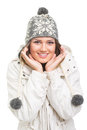 Cute teenage girl wearing winter clothes posing happy jacket and fashionable beanie hat smiling looking at camera Stock Photography