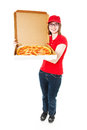 Cute teenage pizza girl delivering pepperoni full lbody isolated on white Stock Photos