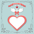 Cute template.Floral frame, hearts label, cartoon  swans Royalty Free Stock Photo