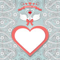 Cute  template.Paisley border lace, hearts label,cartoon swans Royalty Free Stock Photo