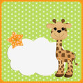 Cute template for postcard with giraffe Royalty Free Stock Photos