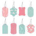 Cute textile label tags set. Royalty Free Stock Photo