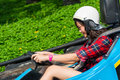 Cute thai girl is driving go kart with speed Stock Image