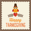 Cute thanksgiving card retro day design with little owl in pilgrim hat Stock Photos