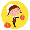Cute Thanksgiving / Pilgrim Girl with pumpkin head Royalty Free Stock Photography